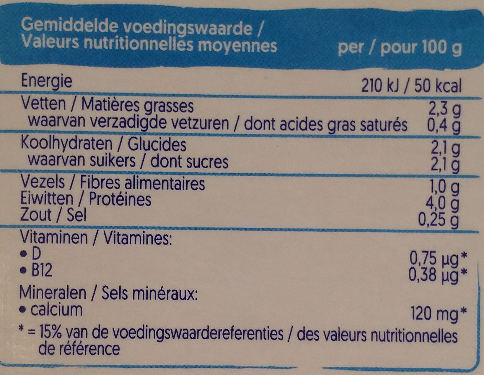 Mild & Creamy Nature - Nutrition facts - fr