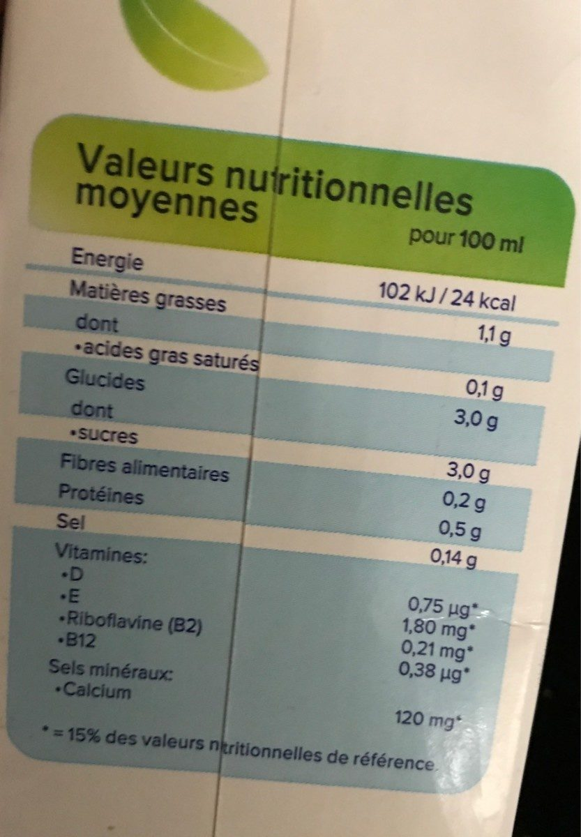 Alpro Mandel Original - Nutrition facts