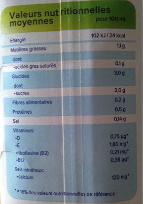 Lait d'amande grillée original - Nutrition facts