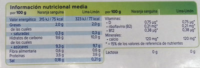 Yaourt agrumes - Información nutricional