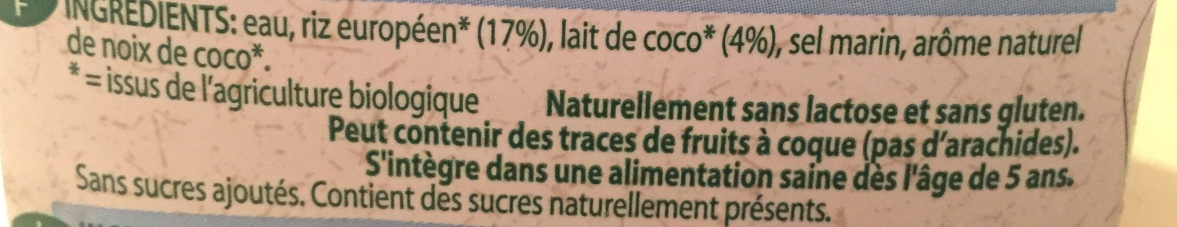 Boisson Au Riz Noix De Coco Bio - 1L - Provamel - Ingredientes