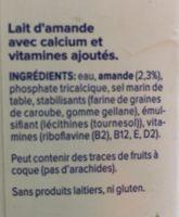 Lait d'amande non-sucré - Ingredients