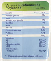 Lait d'amande non-sucré - Nutrition facts