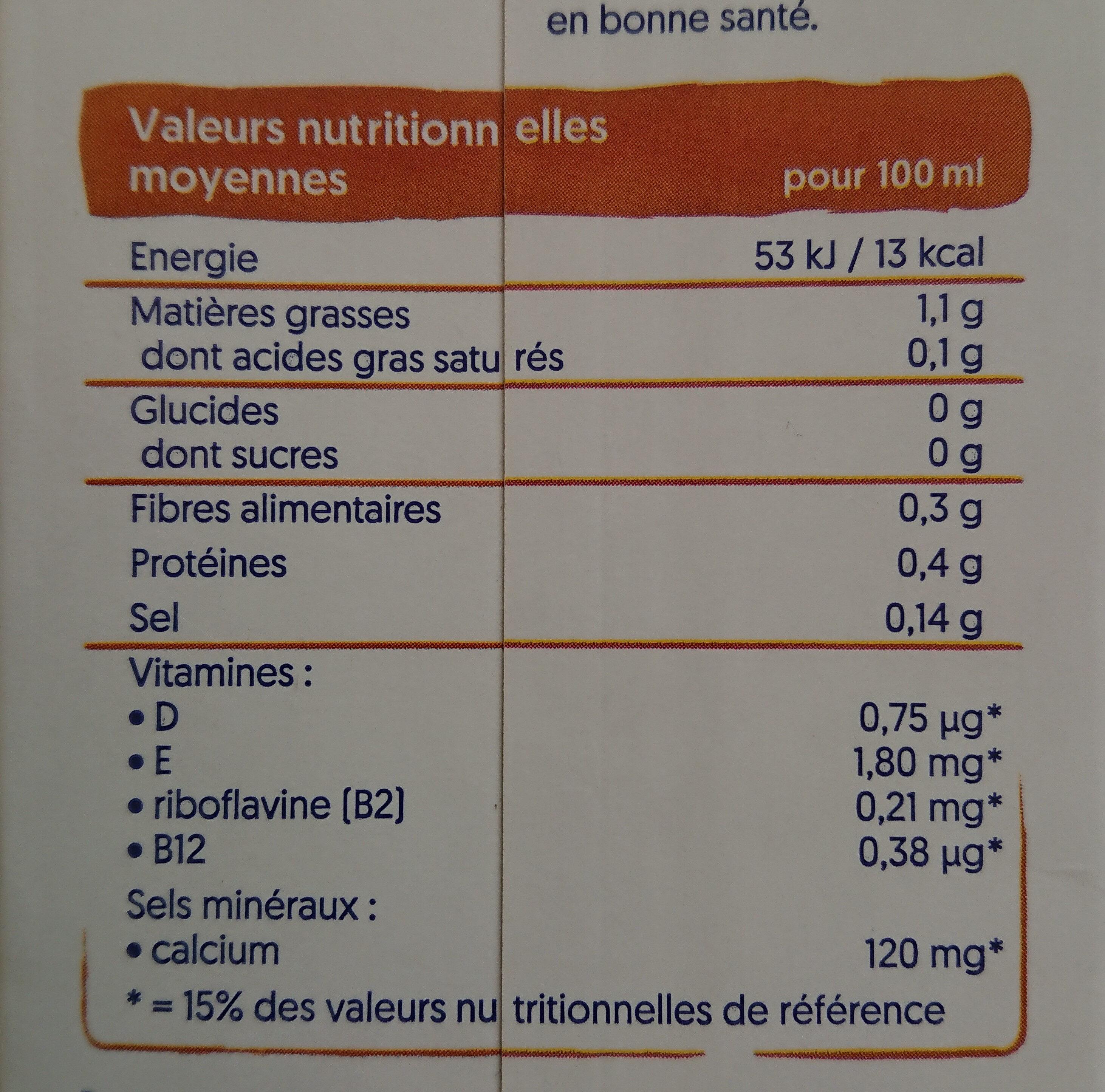 lait d'amande grillée sans sucre - Nutrition facts - fr