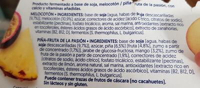 Yogurt a base de soja melocotón 2x piña-fruta de la pasión - Ingredients - es