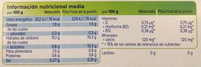 Alpro Melocotón/Piña-maracuyá - Información nutricional