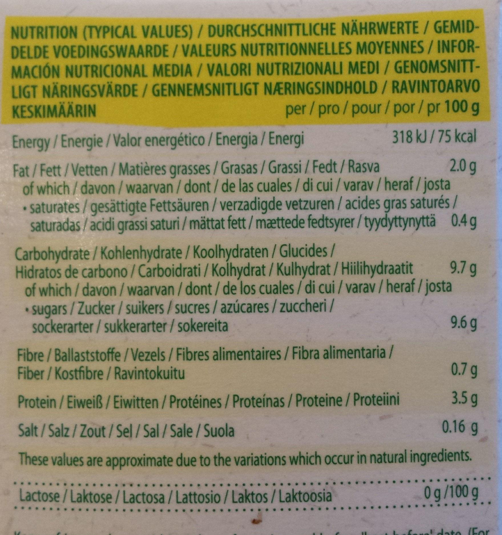 Yaourt Breakfast Soja Vanille - Voedingswaarden