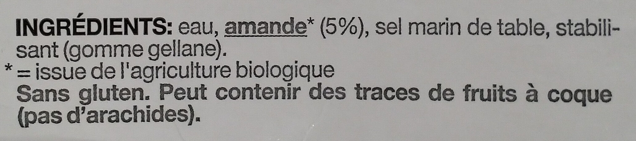 Amande. Sans sucres. - Ingredients - fr