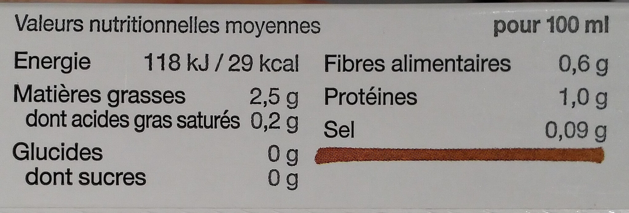 Amande. Sans sucres. - Nutrition facts - fr
