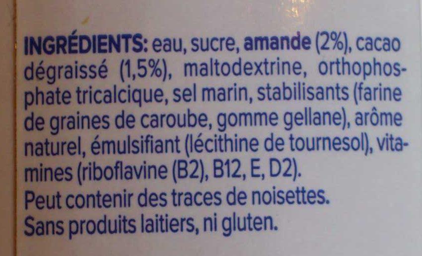 Boisson Amandes Chocolat Noir - Ingrédients