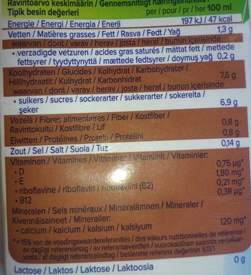 Boisson Amandes Chocolat Noir - Informations nutritionnelles