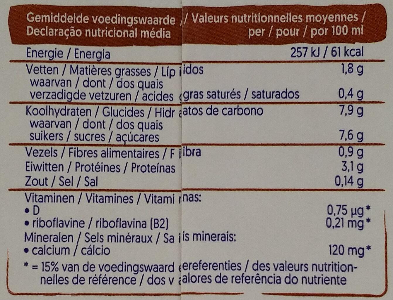 Soja saveur chocolat - Informations nutritionnelles - fr