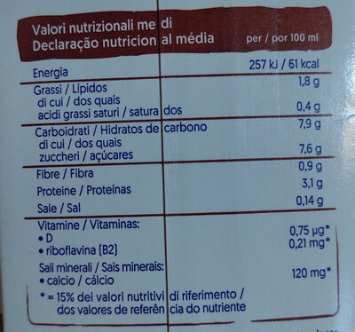 Bevanda di soya gusto cioccolato - Nutrition facts - it