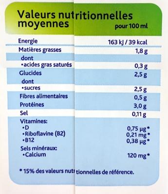 Soja original saveur douce - Información nutricional