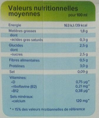 Soja original saveur douce - Nutrition facts