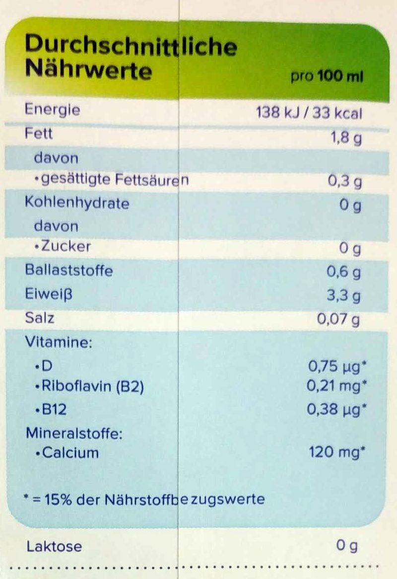 soja milch - Nährwertangaben - de