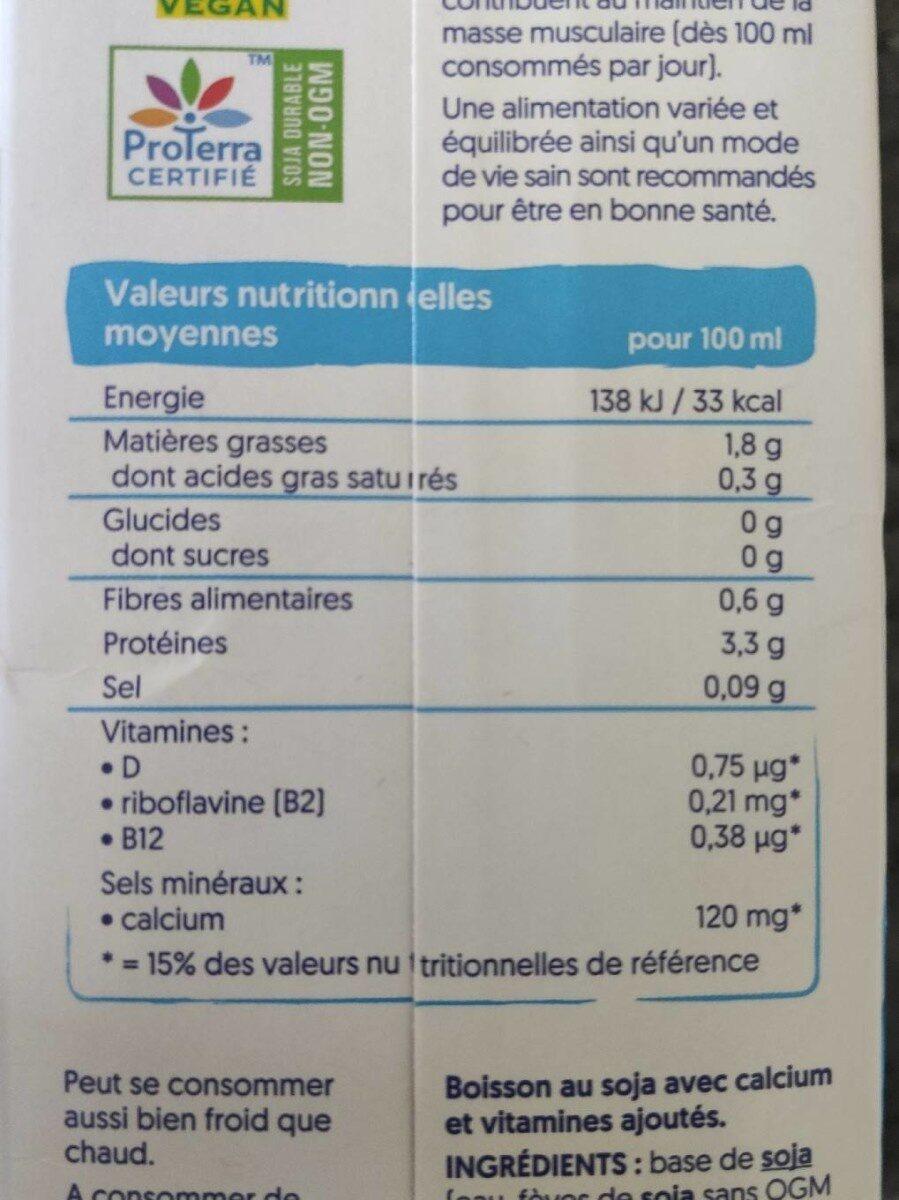 Soja sans sucres - Informations nutritionnelles - fr