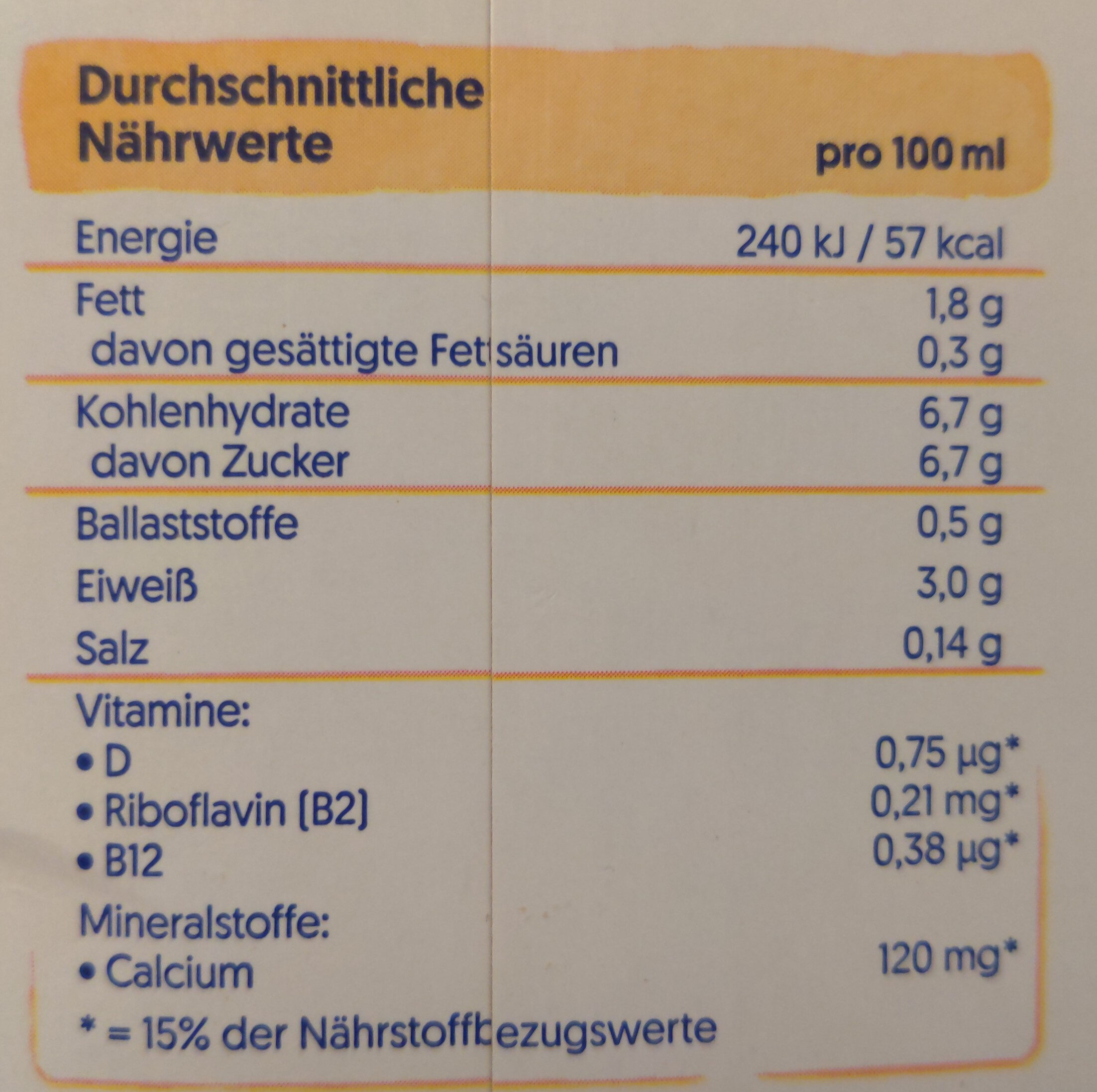 Soya vanille - Nutrition facts