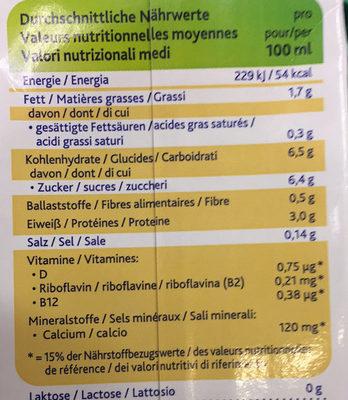 Soja Vanille - Nutrition facts