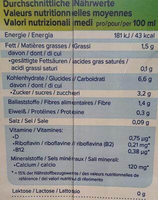Haferdrink, angereichert mit Calcium und Vitaminen - Informations nutritionnelles