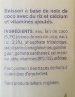 Coco original - Ingrédients
