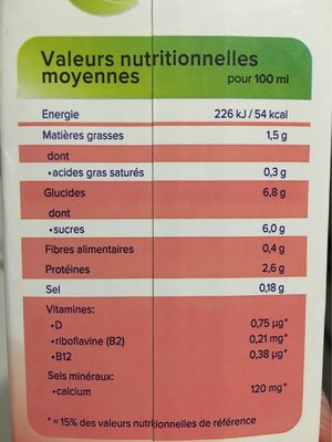 Soja aux fruits rouges - Nutrition facts