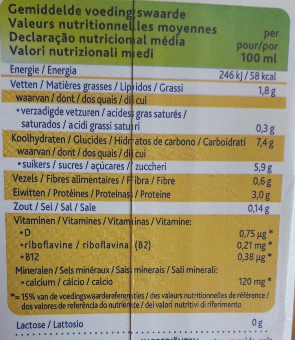 Alpro Soya Drink Banana - Informations nutritionnelles