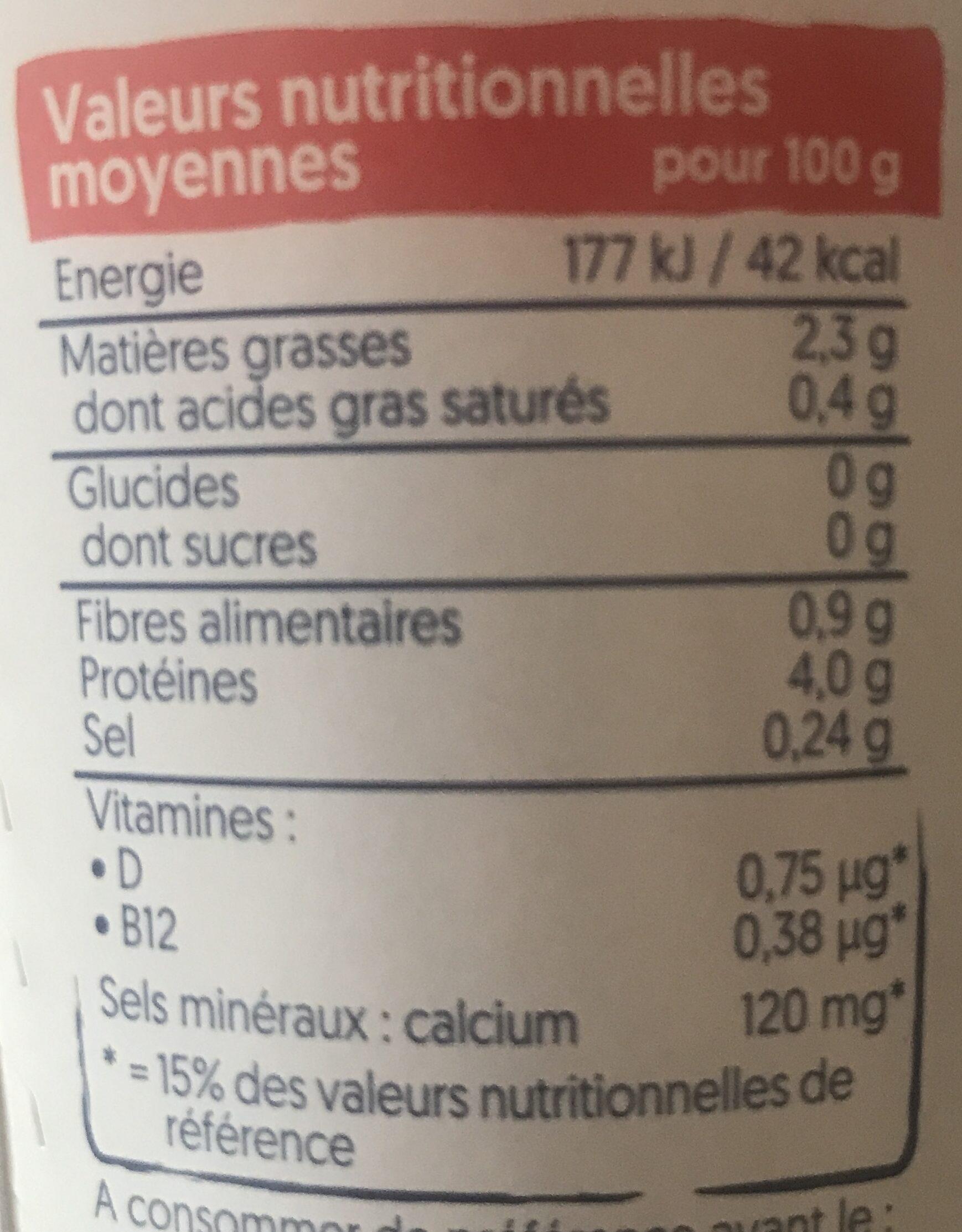 Nature sans sucres - Informations nutritionnelles - fr