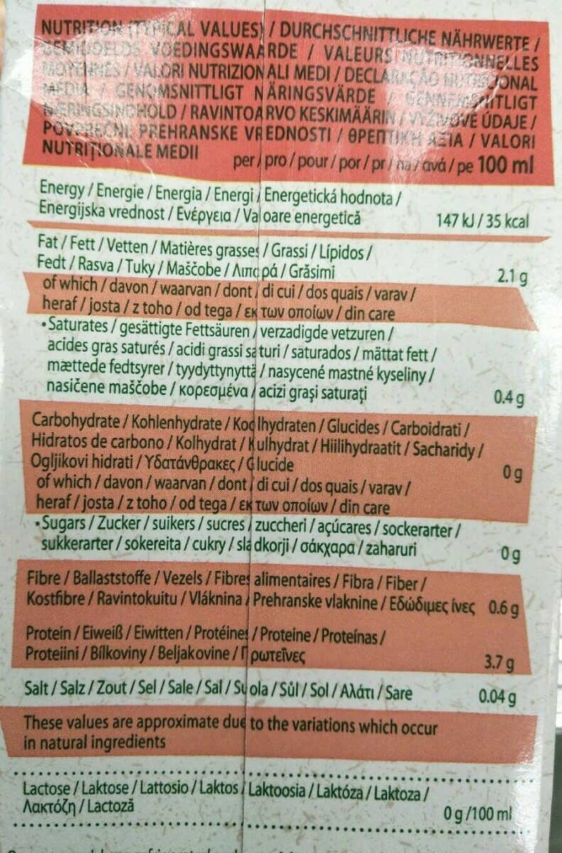 Soya Unsweetened - Nutrition facts