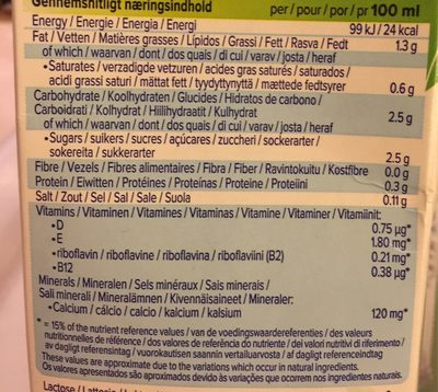 Lait coco amande - Informazioni nutrizionali
