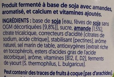 Nature aux Amandes - Végétal soja & amande - Ingrédients - fr