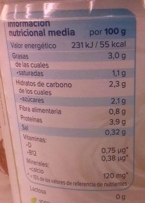 Nature à la noix de coco - Información nutricional