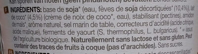 Soya. Coconut. No sugars - Ingrédients - fr
