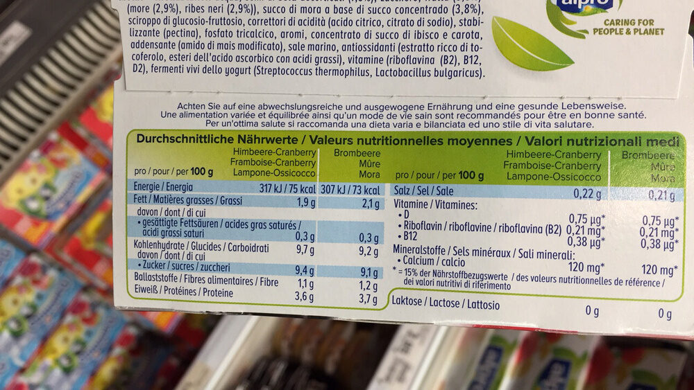 2x Framboise-Airelle, 2x Mûre - Voedingswaarden - fr