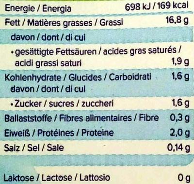 Cooking Soya - Valori nutrizionali