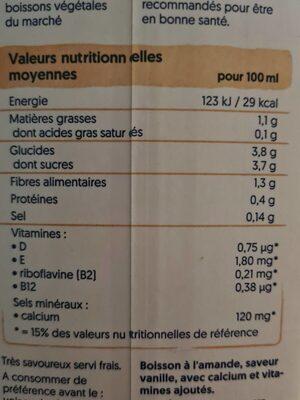 Amande Goût vanille - Valori nutrizionali - de