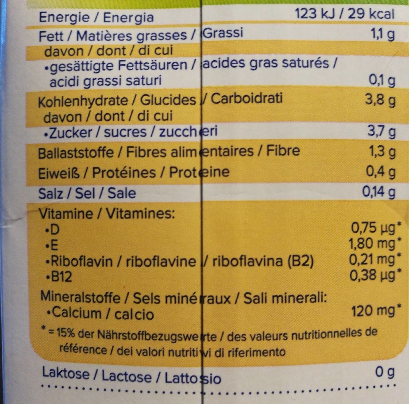 Almond Touch of Vanilla - Informations nutritionnelles