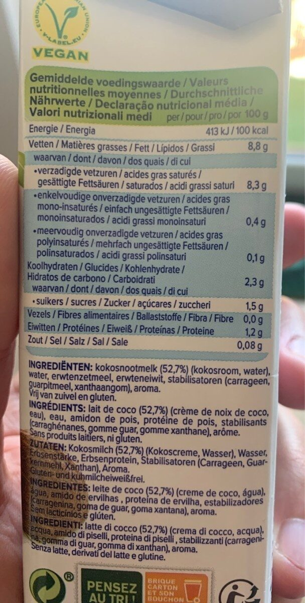 Cuisine coconut - Nutrition facts - sv