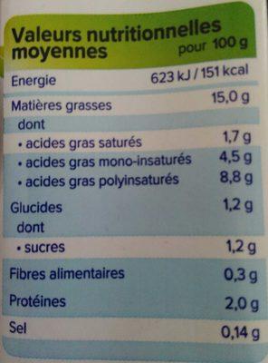 Alpro Cuisine Soya - Informations nutritionnelles