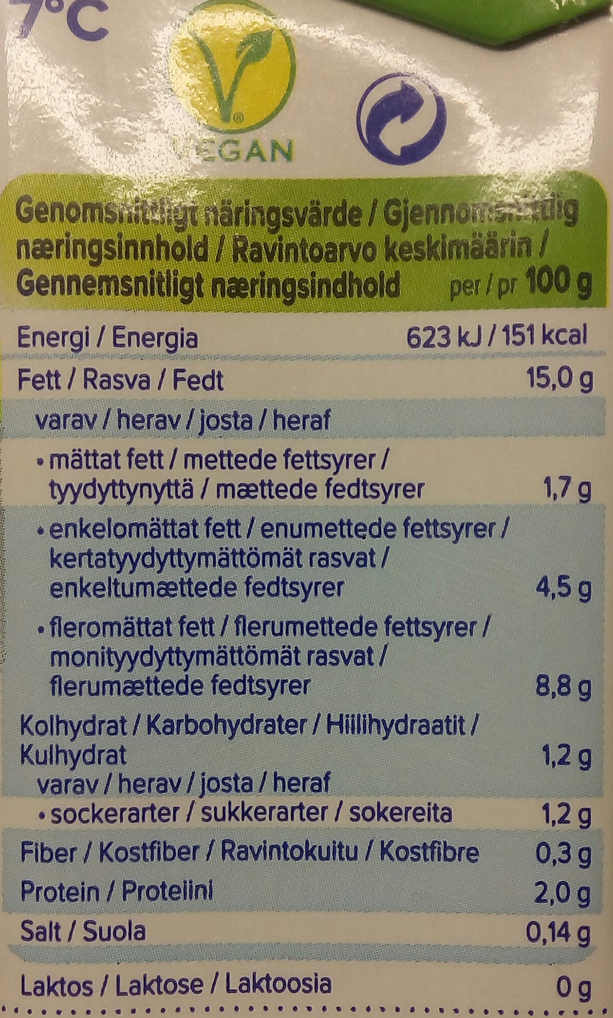 Cuisine Soja (15% MG) - Nutrition facts - sv