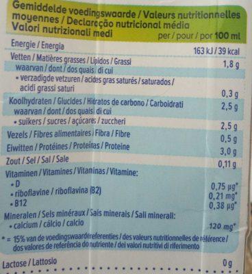 Soya Original - Informations nutritionnelles