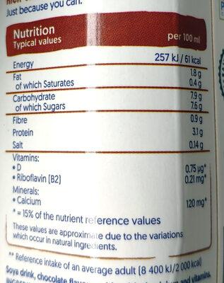 Soya drink chocolate flavour - Voedingswaarden - en