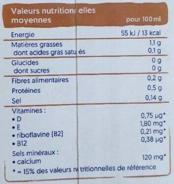Lait d'amande sans sucre - Valori nutrizionali - fr