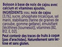 Cashew rein Pflanzlich - Ingrédients - fr