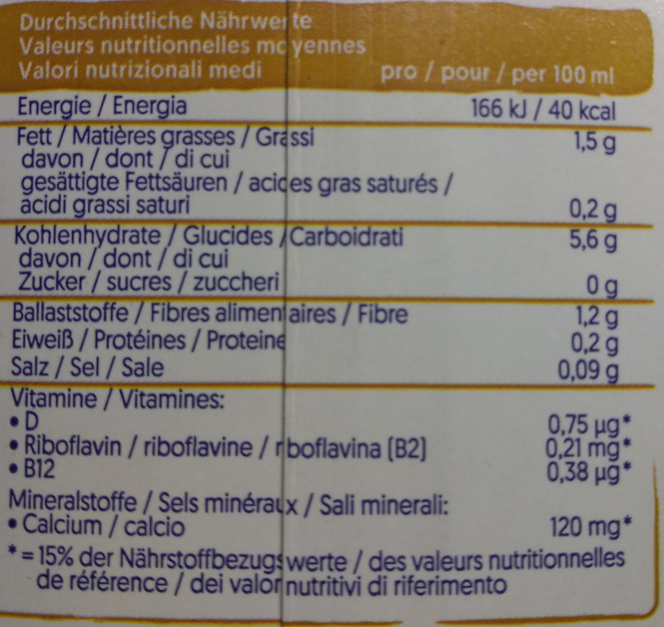 Hafer ohne Zucker - Nährwertangaben - de