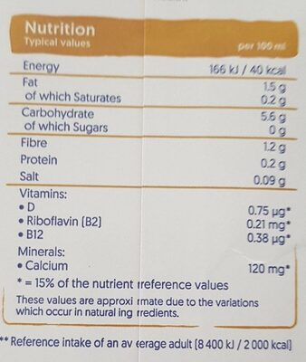 Oat Unsweetened - Nutrition facts