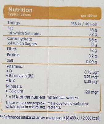 Oat Unsweetened - Nutrition facts - en