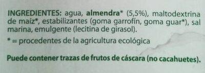 Leche de almendras natural ecológica, sin lactosa, - Ingrediënten