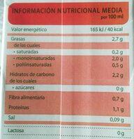 Leche de almendras natural ecológica, sin lactosa, - Voedingswaarden