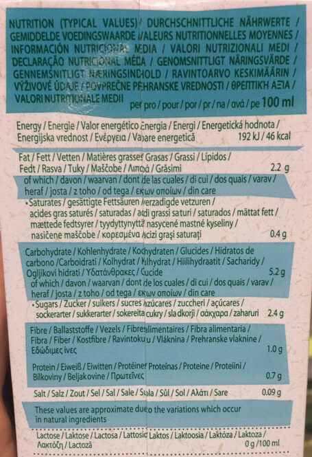 Oat almond hafer mandel - Voedingswaarden